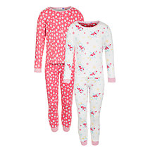 Buy John Lewis Girl Penguin Snowflake Pyjamas, Pack of 2, Pink/White Online at johnlewis.com