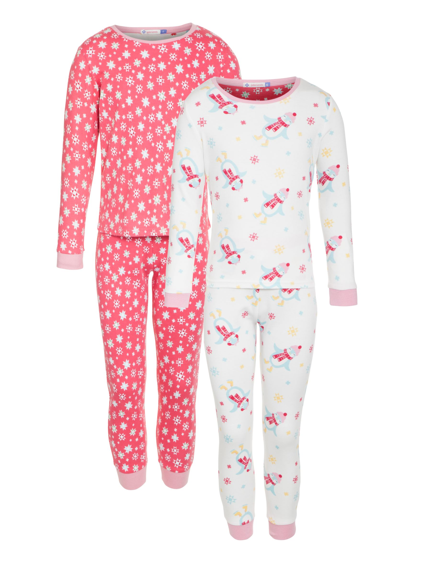 John Lewis Girl Penguin Snowflake Pyjamas, Pack of 2, Pink/White