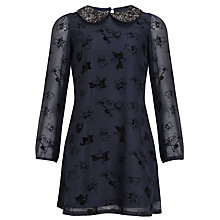 Buy Yumi Girl Cat Print Chiffon Party Dress, Navy Online at johnlewis.com