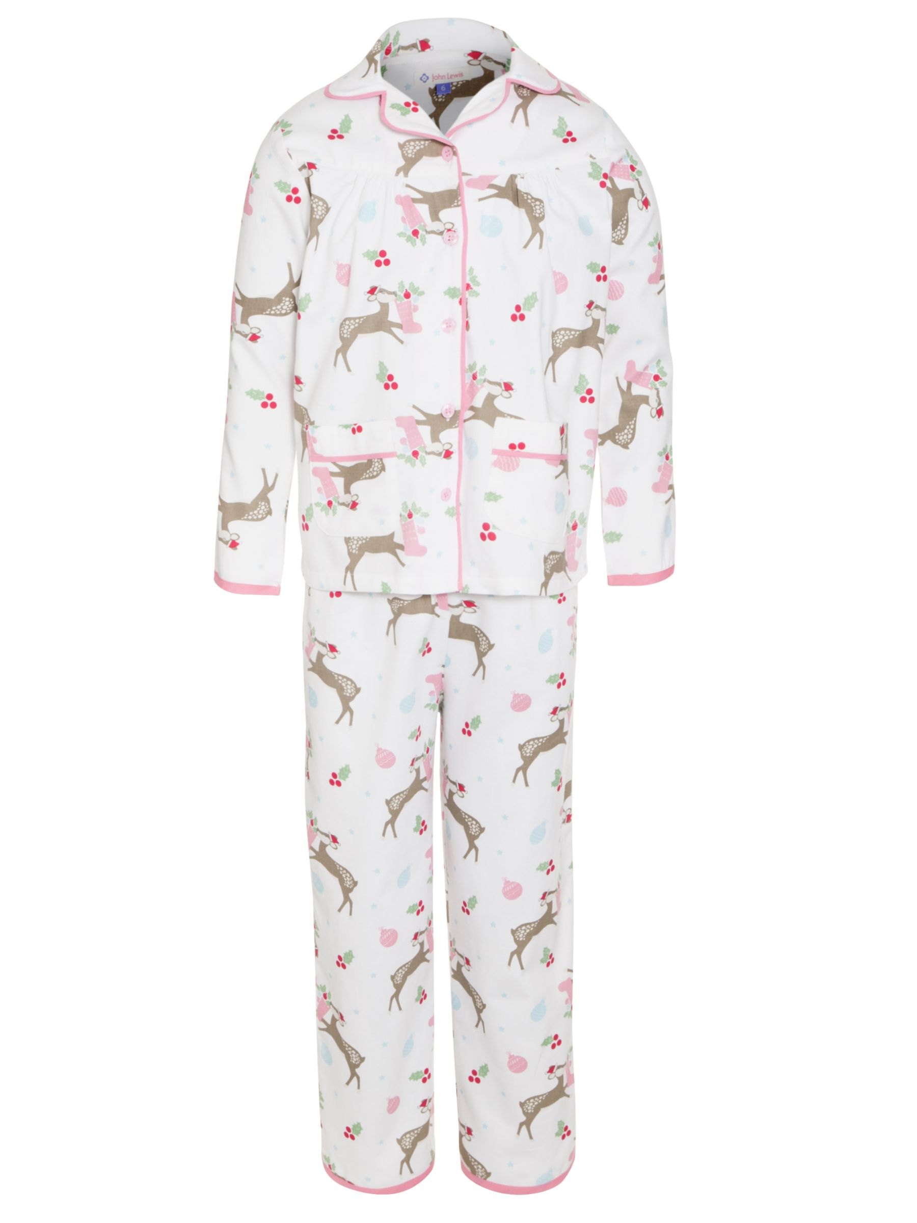 John Lewis Girl Reindeer Pyjamas, Cream