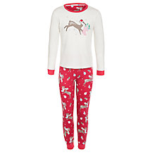 Buy John Lewis Girl Reindeer Pyjamas, Red/White Online at johnlewis.com