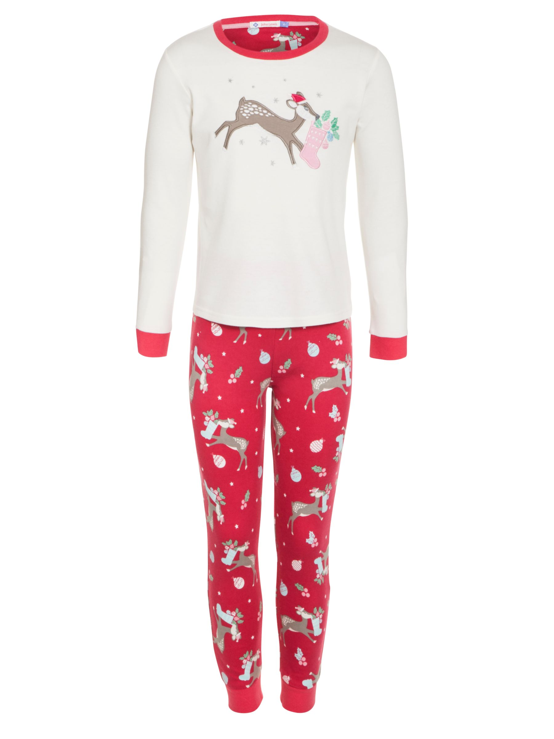 John Lewis Girl Reindeer Pyjamas, Red/White