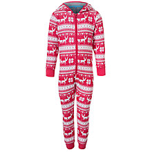 Buy John Lewis Girl Fair Isle Onesie, Red Online at johnlewis.com