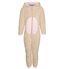 Buy John Lewis Girl Reindeer Fleece Onesie, Brown Online at johnlewis.com