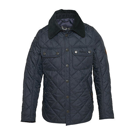 Buy Barbour Boys' Akenside Military Jacket, Navy Online at johnlewis.com