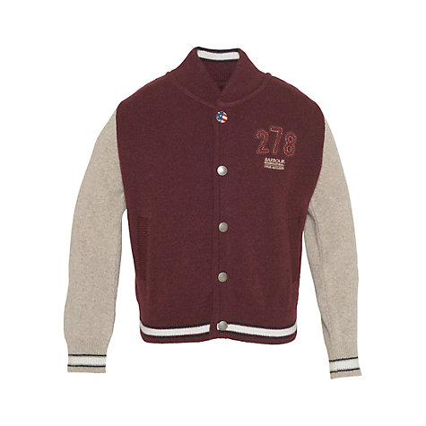 Buy Barbour Boys' Varsity Jacket, Merlot Online at johnlewis.com