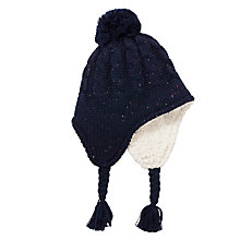 Buy John Lewis Boy Fleck Trapper Hat, Navy Online at johnlewis.com