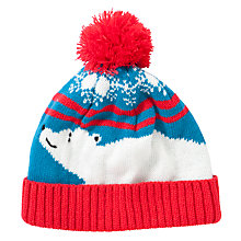 Buy John Lewis Boy Christmas Polar Bear Bobble Hat, Blue/Red Online at johnlewis.com