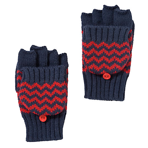 Buy John Lewis Boy Zig Zag Stripe Flip Gloves, Navy/Red Online at johnlewis.com