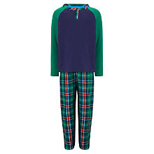 Buy John Lewis Boy Jersey Check Pyjamas, Blue/Green Online at johnlewis.com