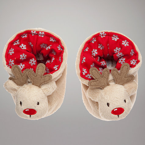 Buy John Lewis Baby Reindeer Booties, Brown Online at johnlewis.com