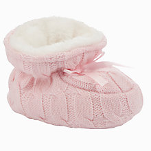 Buy John Lewis Knitted Booties, Pink Online at johnlewis.com