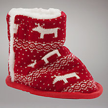 Buy John Lewis Baby Fair Isle Knit Booties, Red Online at johnlewis.com