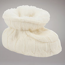 Buy John Lewis Baby Knitted Booties, Cream Online at johnlewis.com
