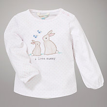 Buy John Lewis Baby Spot Bunny Top, White/Pink Online at johnlewis.com