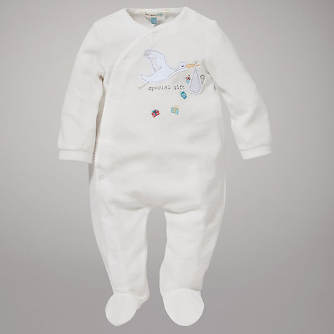 Buy John Lewis Baby Stork Sleepsuit, Cream Online at johnlewis.com