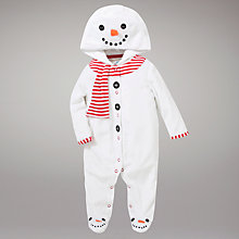 Buy John Lewis Baby Snowman Sleepsuit, White Online at johnlewis.com