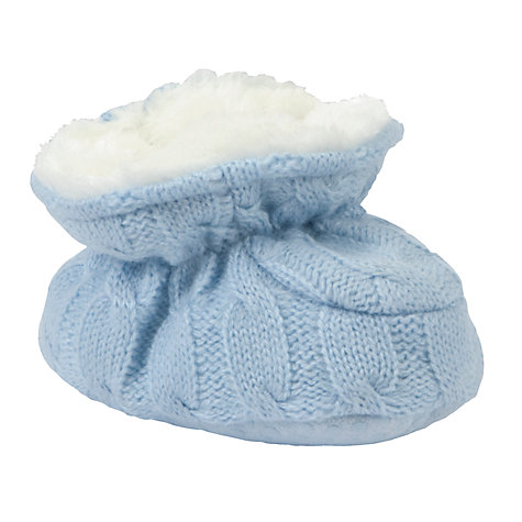 Buy John Lewis Baby Knitted Booties, Blue Online at johnlewis.com