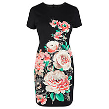 Buy Oasis Neon Rose Dress, Black Online at johnlewis.com