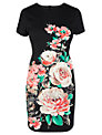 Oasis Neon Rose Dress, Black