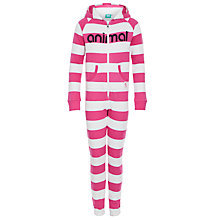 Buy Animal Striped Hooded Onesie, Pink Online at johnlewis.com