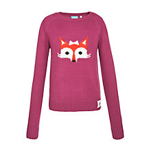 Buy Animal Girl's Fox Face Crew Neck Jumper, Purple Online at johnlewis.com