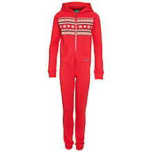 Buy Animal Fair Isle Print Hooded Onesie, Red Online at johnlewis.com