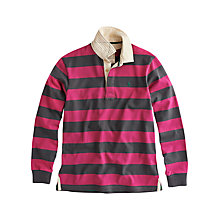 Buy Joules Norwell Stripe Rugby Top, Ruby/Grey Online at johnlewis.com
