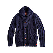 Buy Joules Bernard Cable Knit Cardigan, Blue Online at johnlewis.com