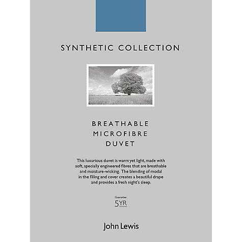 Buy John Lewis Breathable Microfibre Duvet, 13.5 Tog (9 + 4.5 Tog) All Seasons Online at johnlewis.com