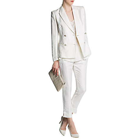 Buy Mango Double Breast Blazer, Natural White Online at johnlewis.com