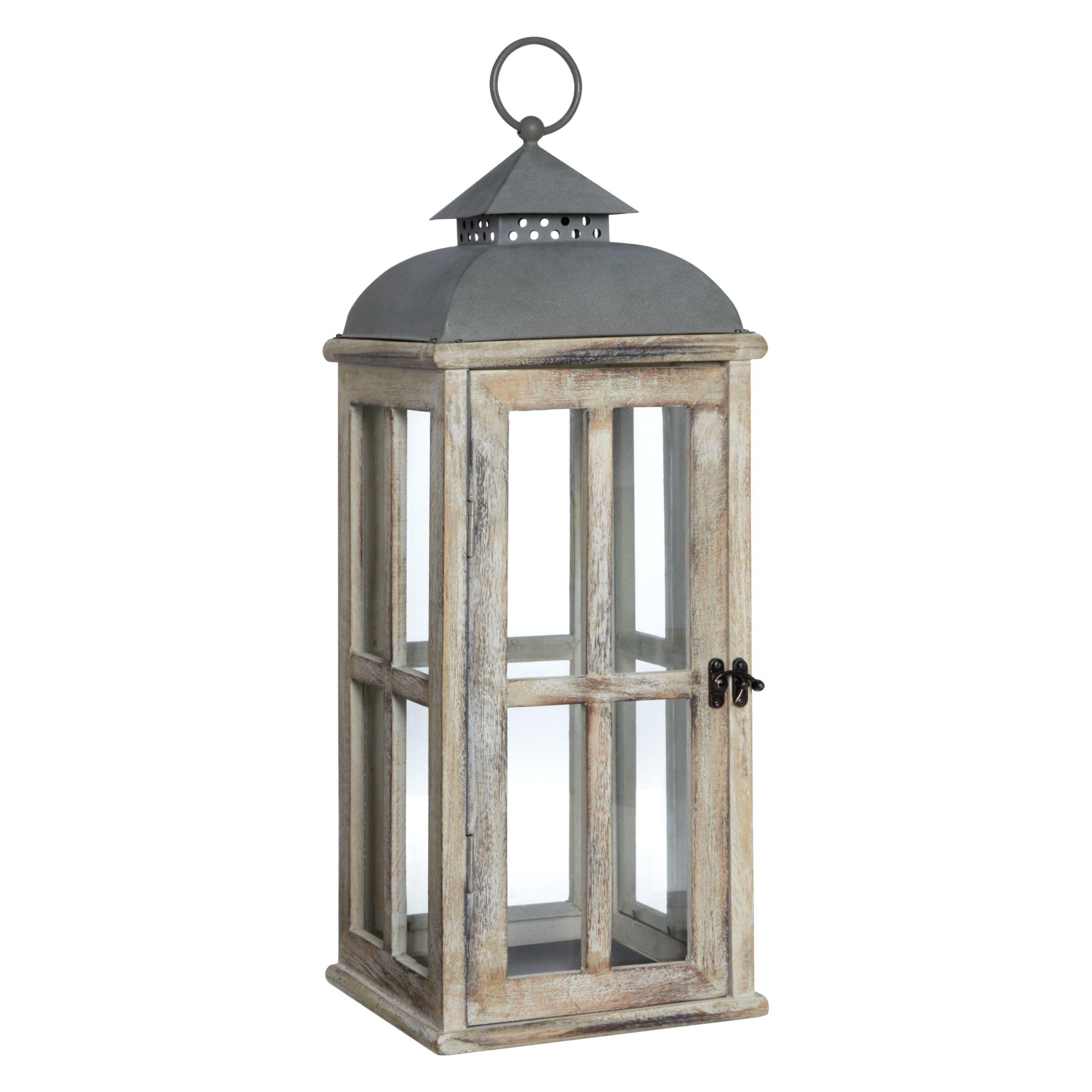 John Lewis Whitewash Wood Lantern