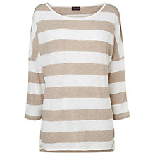 Buy Phase Eight Alix Striped Slub Top, Neutral Online at johnlewis.com
