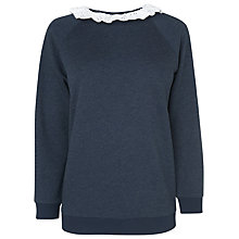 Buy Boutique by Jaeger Jamie Lace Jumper, Navy Online at johnlewis.com