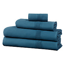 Buy John Lewis Croft Collection Waffle Terry Towels, Lake Blue Online at johnlewis.com