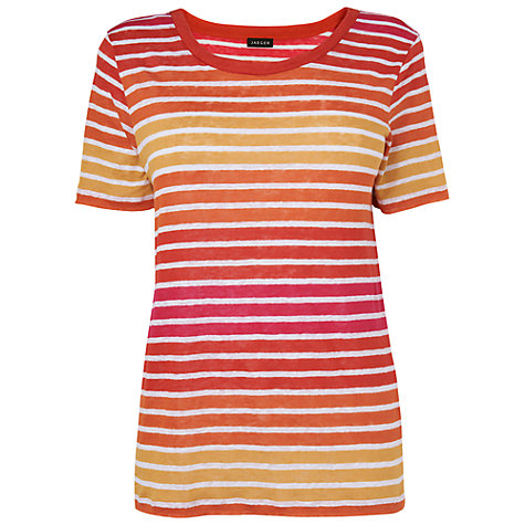 Buy Jaeger Striped Linen T-Shirt, Pink Online at johnlewis.com