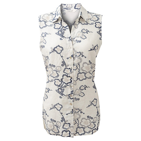 Buy East Geisha Rose Top, White/Blue Online at johnlewis.com