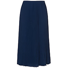 Buy Jaeger Pleated Midi Skirt, Navy Online at johnlewis.com