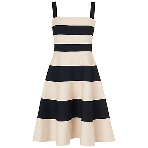 Buy Jaeger Striped Flared Hem Dress, Black Online at johnlewis.com