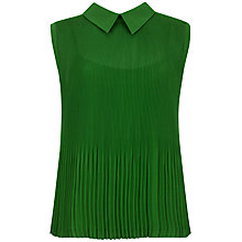 Buy Ted Baker Dantea Pleated Top, Dark Green Online at johnlewis.com