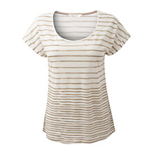 Buy East Regan Striped Jersey T-Shirt, Beige/White Online at johnlewis.com