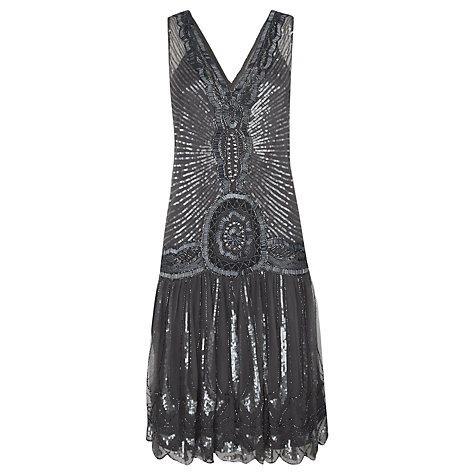 Buy Jigsaw Sequin Flapper Dress, Silver Grey Online at johnlewis.com