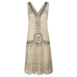 Jigsaw Sequin Flapper Dress, Oyster