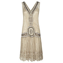 Buy Jigsaw Sequin Flapper Dress, Oyster Online at johnlewis.com