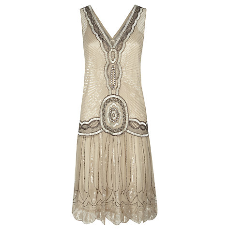 Buy jigsaw sequin flapper dress oyster online at johnlewis com