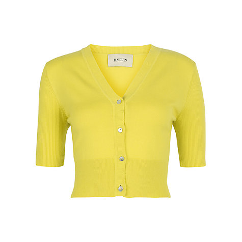 Buy Havren Cropped Cardigan, Yellow Online at johnlewis.com