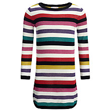 Buy John Lewis Girl Striped Long Jumper, Cream/Multi Online at johnlewis.com