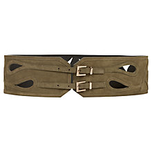 Buy Reiss Laser Cut Belt, Olive Online at johnlewis.com