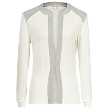 Buy Reiss Metalic Trim Cardigan, Cream Online at johnlewis.com