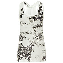 Buy Reiss Silk Printed Vest Top, Black/White Online at johnlewis.com